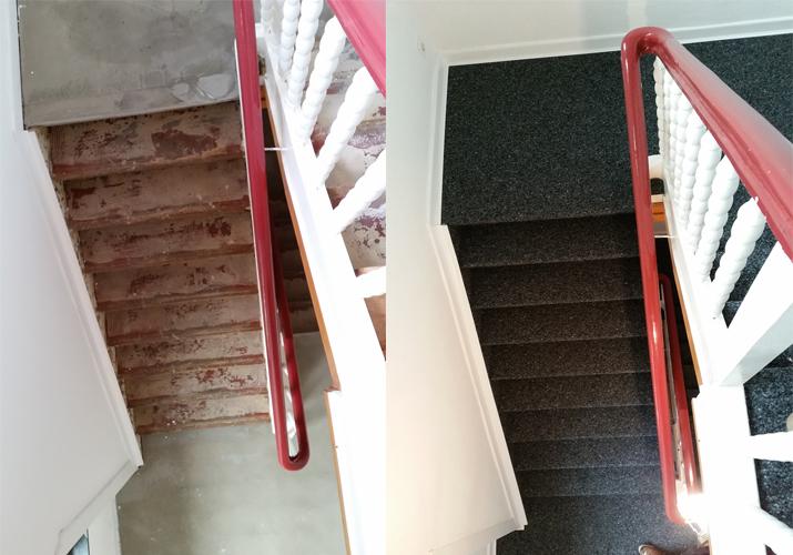 Kugelgarn auf alte Holztreppe